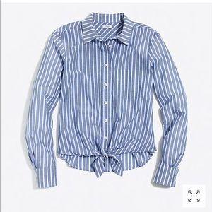 Tie Waist Stripe Cotton Button-Up